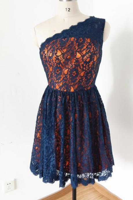 Charming Homecoming Dress,Lace Homecoming Dress,One-Shoulder Homecoming Dress,Cute Homecoming Dress,PD1700262