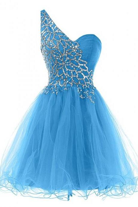 Charming Homecoming Dress,Tulle Homecoming Dress,Sequined Homecoming Dress,One0-Shoulder Homecoming Dress,PD1700269