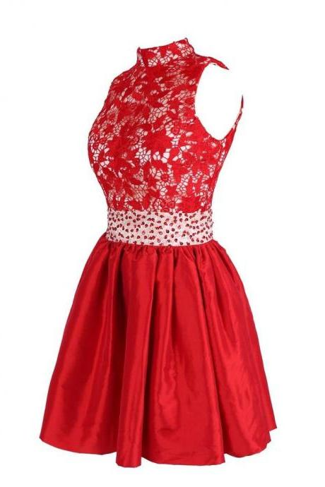 Charming Homecoming Dress,A-Line Homecoming Dress,Lace Homecoming Dress, Beading Short Prom Dress,PD1700359
