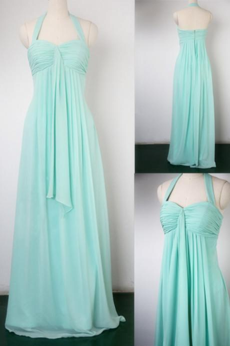 Charming Bridesmaid Dress,Halter Bridesmaid Dress,Chiffon Bridesmaid,Short Pleat Prom Dress,PD1700410