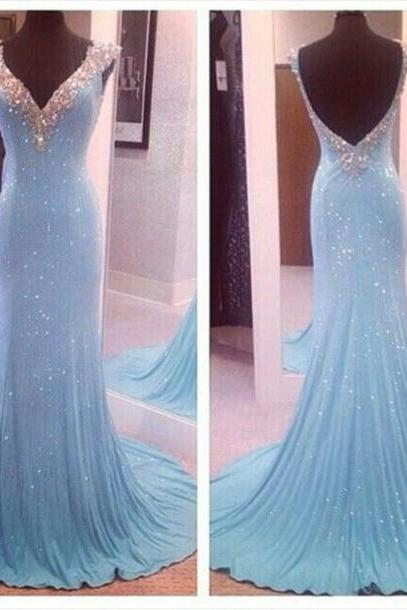 Charming Prom Dress,Beading Prom Dress,Mermaid Prom Dress,V-Neck Prom Dress,Sexy Backless Prom Dress,PD1700434