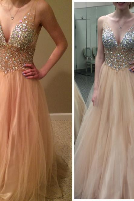 Charming Prom Dress,V-Neck Prom Dress,A-Line Prom Dress,Sequined Prom Dress,Tulle Prom Dress,PD1700482