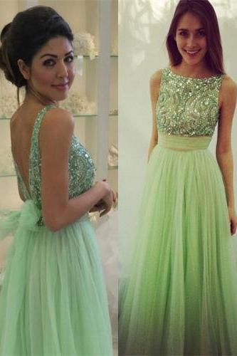 Charming Prom Dress,Sequined Prom Dress,A-Line Prom Dress,Backless Prom Dress,Tulle Prom Dress,PD1700512