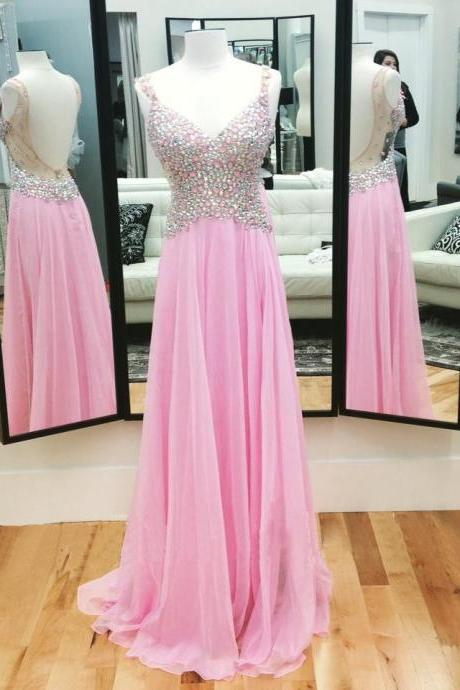 Pink Crystals Prom Dresses , Full Beading Top Prom Dresses , Sexy Open Back Prom Dresses , Floor Length Long Prom Dresses,PD1700708