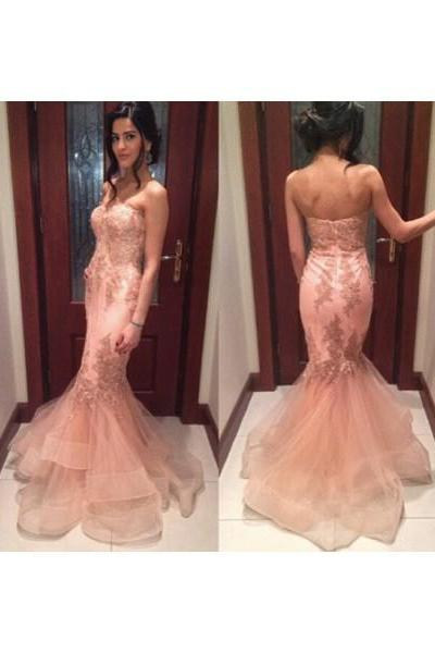 Long Prom Dress, Blush Pink Prom Dress, Mermaid Prom Dress, Sweetheart Prom Dress, Lace Prom Dress, Evening Dress Gown,PD1700725