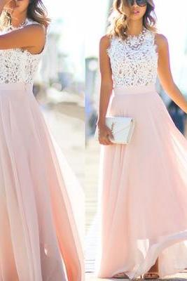 Pink and White Lace Chiffon Long Sleeveless Bridesmaid Dress