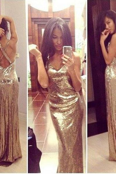 Gold sequin prom dresses, backless prom dresses, prom dresses 2016, cheap prom dresses, long prom dresses, prom dresses 2016,PD1700786