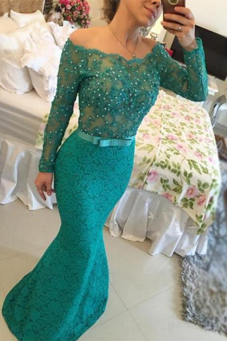 Mermaid Prom Dress,Lace Prom Dresses with Beading,Sexy Formal Dresses,Dark Green Bateau Neck Dresses,Long Sleeves Formal Dresses,Floor Length Evening Dress,PD1700779
