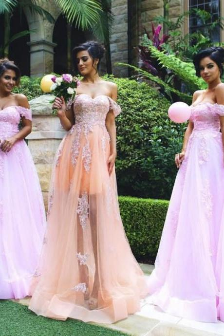 Custom Color Off shoulder Tulle A Line Prom Gown with Appliques Evening Gowns,PD160819