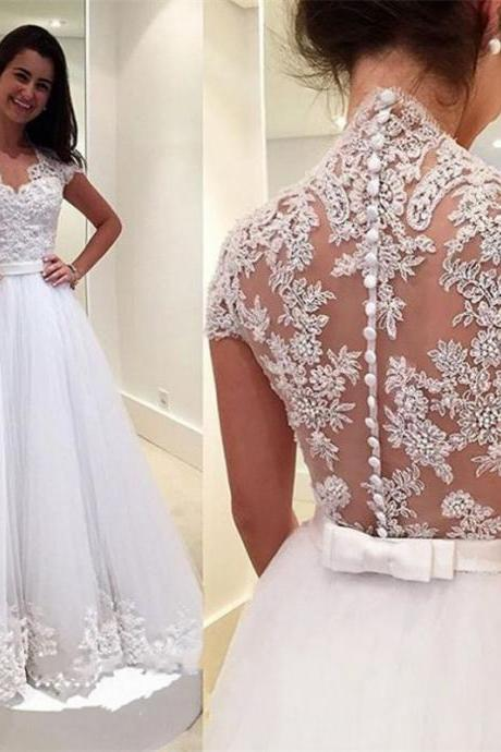 Dresses,Beautiful Wedding Dresses,A-line Wedding Dresses,Appliques Wedding Dresses,Cheap Wedding Dresses,Lace Wedding Dresses,Floor-length Wedding Dresses,Princess Wedding Dresses,Dresses for Bride,PD160820