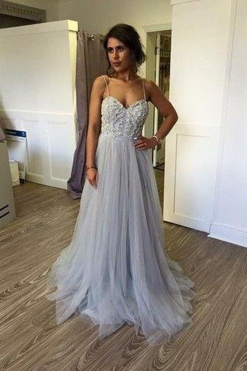 Charming Prom Dress,Appliques Prom Dress,Spaghetti Straps Prom Dress,Tulle prom Dress,A-Line Evening Dress,PD160840