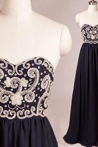 Navy Blue Chiffon Floor Length Prom Dress Featuring Embroidered Sweetheart Bodice,PD931