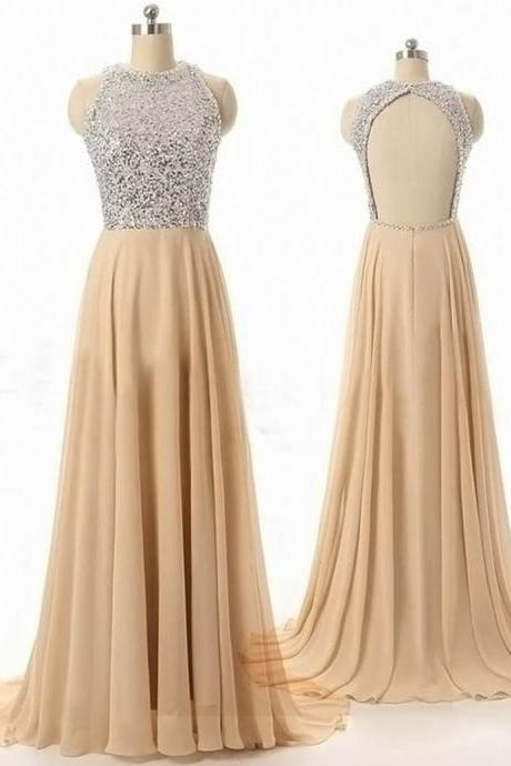 Modern A-Line Scoop Sleeveless Open Back Beading Long Prom Dress,PD946