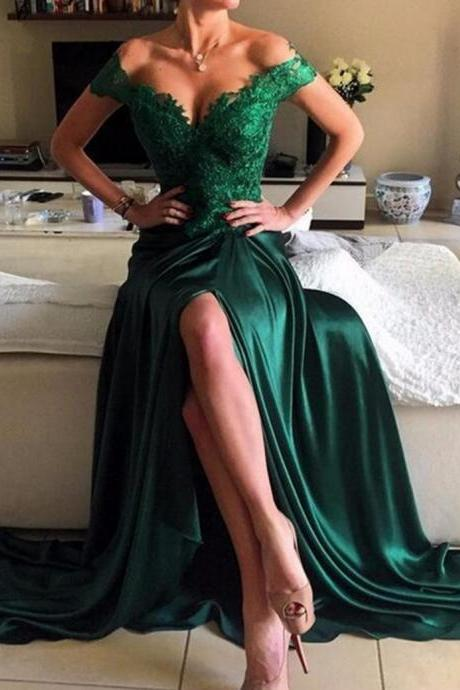Dark Green Off Shoulder Sweep Train Legslit Prom Dress with Appliques,PD960
