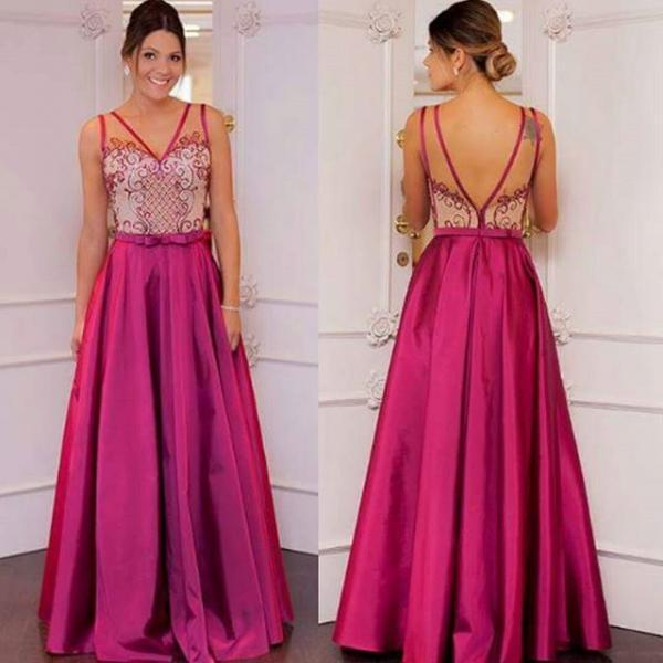 Hot pink prom dress, V-neck prom dress,A-line evening backless dress,applique long prom gowns