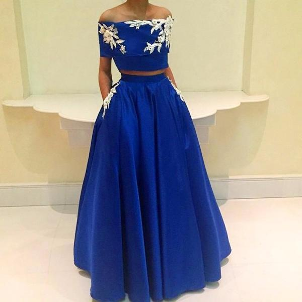 Royal blue prom dress, off shoulder prom dress,A-line two pieces evening dress,applique satin long prom gowns