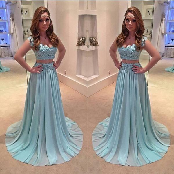 Blue prom dress, off shoulder prom dress,two pieces evening dress,beaded chiffon long prom gowns
