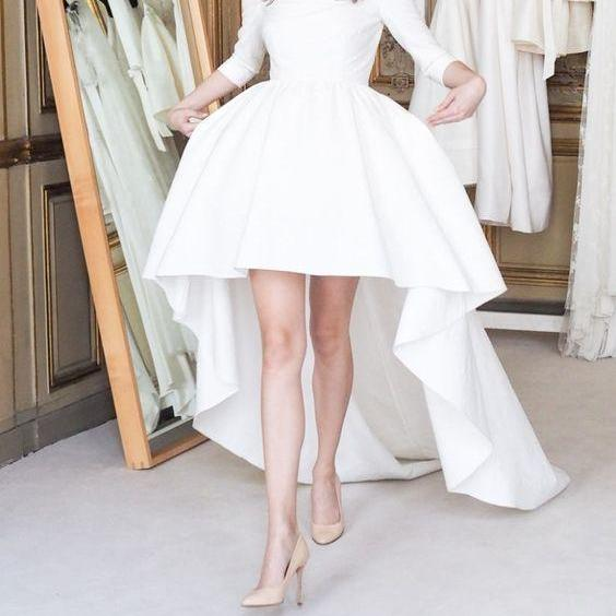 White prom dress, long sleeves prom dress,high low evening dress, long homecoming gowns