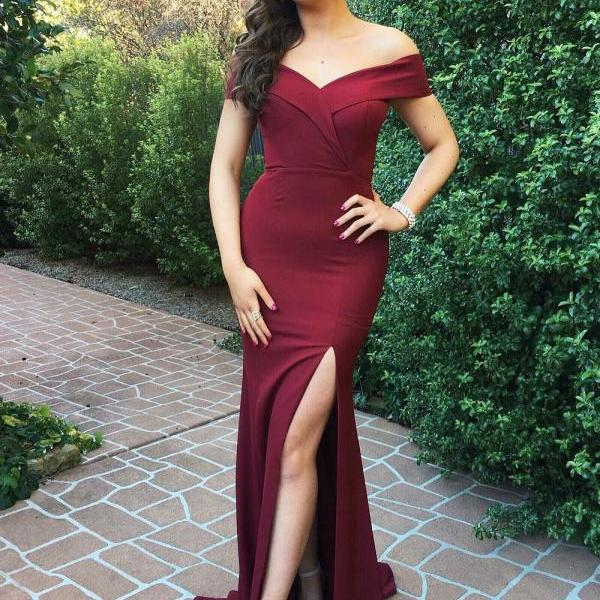 Burgundy Long Bridesmaid Dress - Off the Shoulder Slit evening dresses, pageant dresses