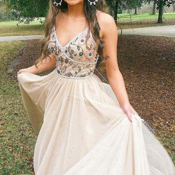 Pretty Customized Charming V neck Beaded A Line Long Prom Dress with Appliques, BW9731