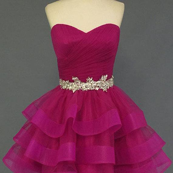 Short Sweetheart Homecoming Dress with Ruffled Skirt